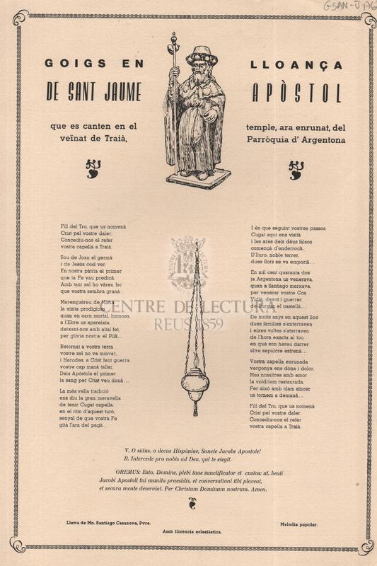 Goigs en lloança de Sant Jaume Apòstol que es canten en el temple, ara enrunat, del veïnat de Traià, Parròquia d'Argentona