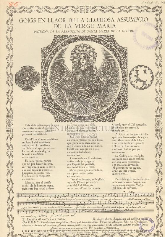 Goigs en llaor de la gloriosa Assumpció de la Verge Maria, patrona de la parròquia de Santa Maria de la Geltrú.
