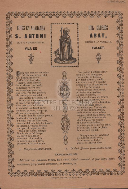 Goigs en alabansa del gloriós S. Antoni Abat, que's venera en sa ermita d'aquesta Vila de Falset.