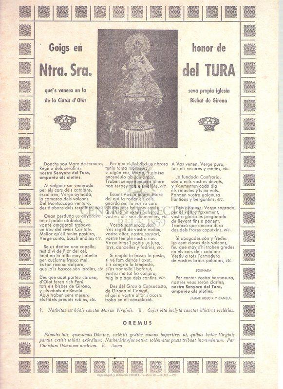 Goigs en honor de Ntra. Sr.a del Tura que's venera en la seva propia iglesia de la Ciutat d'Olot Bisbat de Girona