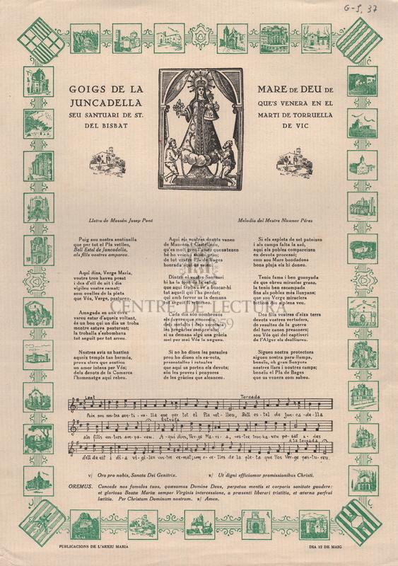 Goigs de la Mare de Deu de Juncadella que's venera en el seu santuari de st. Marti de Torruella del Bisbat de Vic.