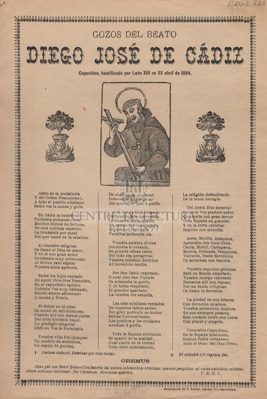 Gozos del Beato Diego José de Cádiz. Capuchino, beatificado por León XIII en 22 abril de 1894
