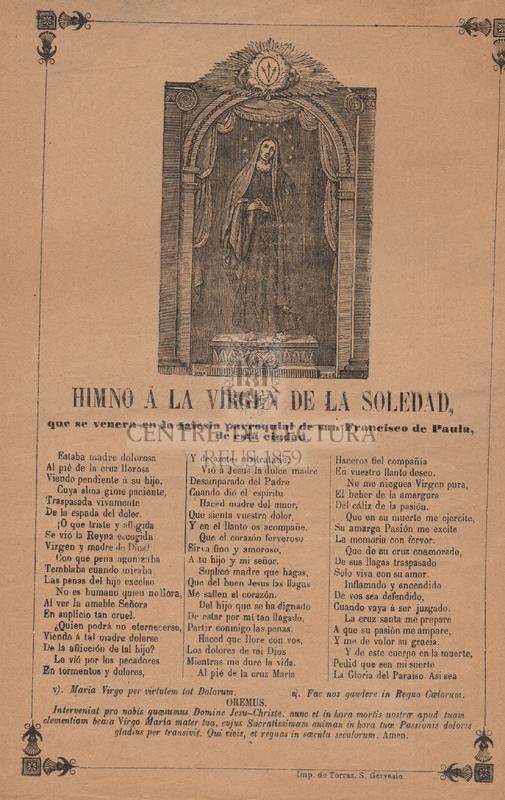 Goigs a llaor de Nostra Senyora de la Soledat, venerada a l'església de l'ex convent de PP. Carmelites de Vilanova i la Geltrú.