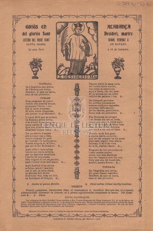 Goigs en alagabça del gloriós Sant Desideri, martre lector del Bisbe Sant Genar, venerat a Santa Maria de Mataró. La seva festa a 19 de setembre