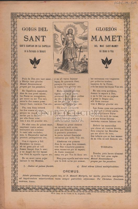 Goigs del gloriós Sant Mamet que's cantan en sa capella del Mas Sant-Mamet de la Parroquia de Balenyá del Bisbat de Vich