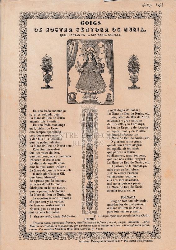 Goigs de Nostra senyora de Nuria, ques cantan en la sua capella