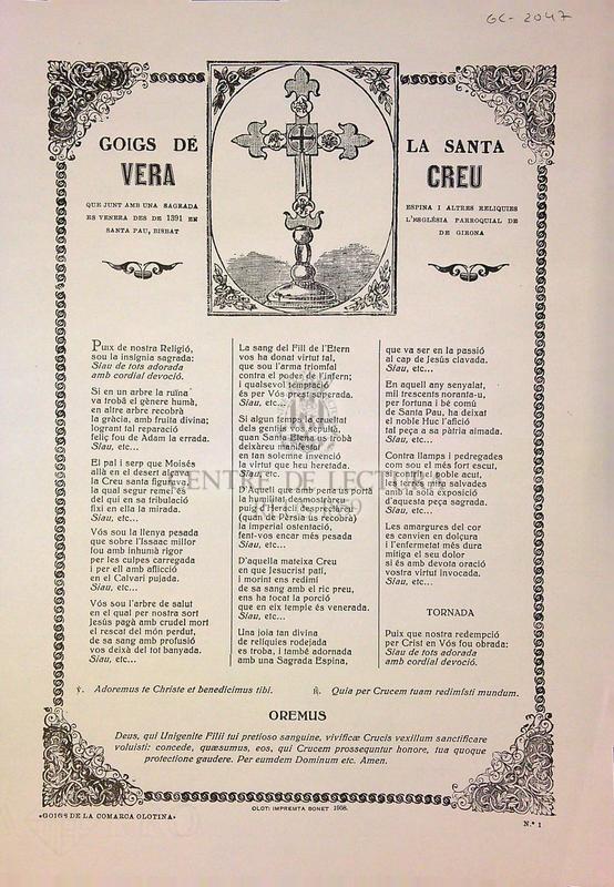 Goigs de la Santa Vera Creu que junt amb una sagrada espiona i altres reliquies es venera des de 1931 en l'església parroquial de Santa Pau, Bisbat de Girona