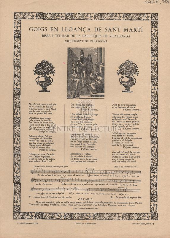 Goigs en lloança de Sant Martí. Bisbe i titular de la Parròquia de Vilallonga, Arquebisbat de Tarragona