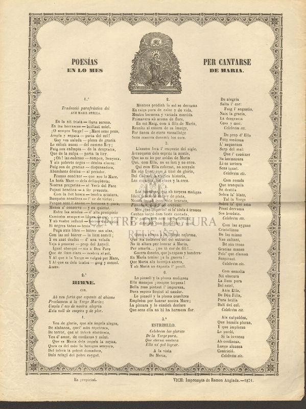 Poesias per cantarse en lo mes de María