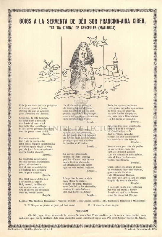"""Goigs a la serventa de Déu sor Francina-Aina Cirer, """"sa tia Xiroia"""" de Sencelles (Mallorca)"""