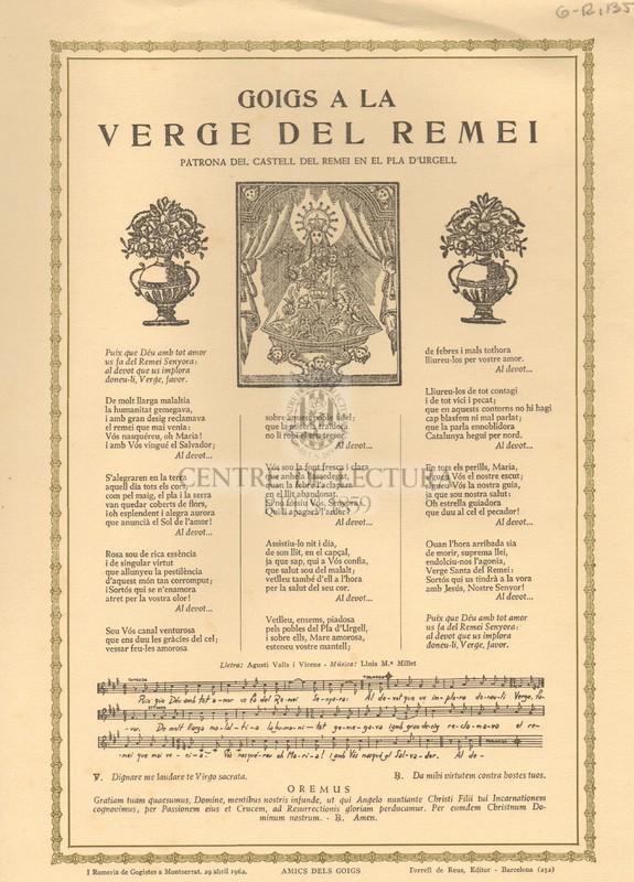 Goigs a la Verge del Remei patrona del castell del Remei en el Pla d'Urgell