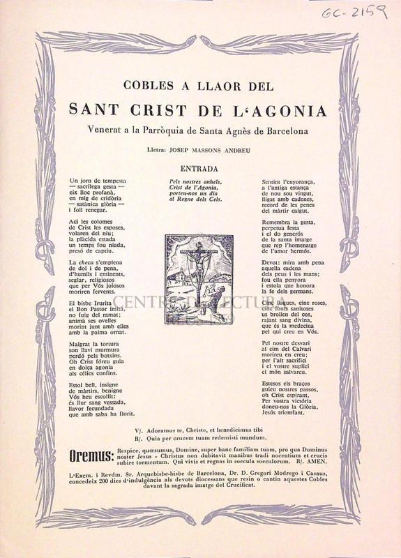 Cobles a llaor del Sant Crist de l'agonia venerat a la parròquia de Santa Agnès de Barcelona