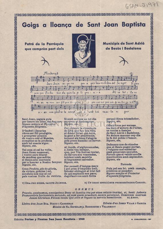 Goigs a lloança de Sant Joan Baptista, Patró de la Parròquia que comprèn part dels Municipis de Sant Adrià de Besòs i Badalona