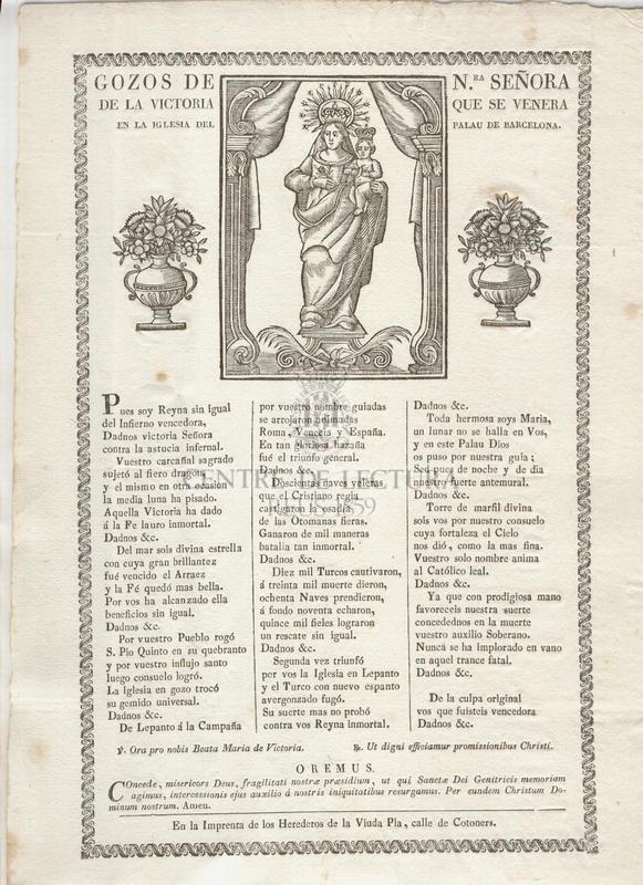 Gozos de Nra. Señora de la Victoria que se venera en la Iglesia del Palau de Barcelona