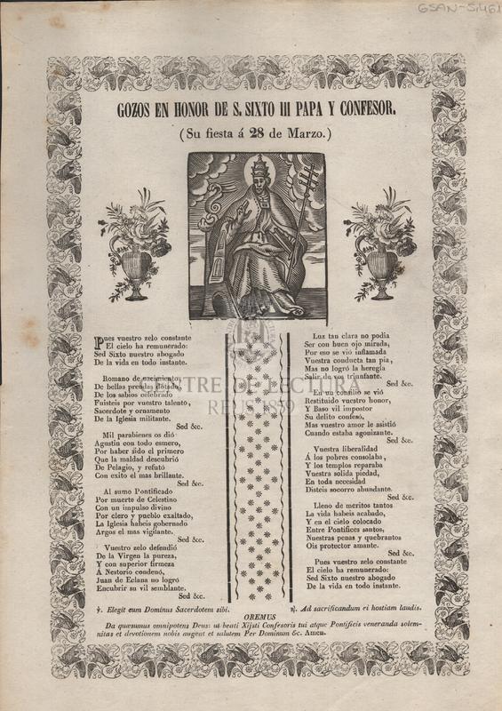 Gozos en honor de S. Sixto III papa y confesor