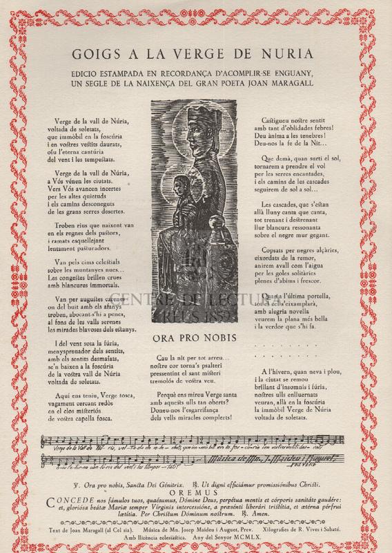 Goigs a la Verge de Nuria edicio estampada en recordança d'acomplir-se enguany, un segle de la naixença del gran poeta Joan Maragall
