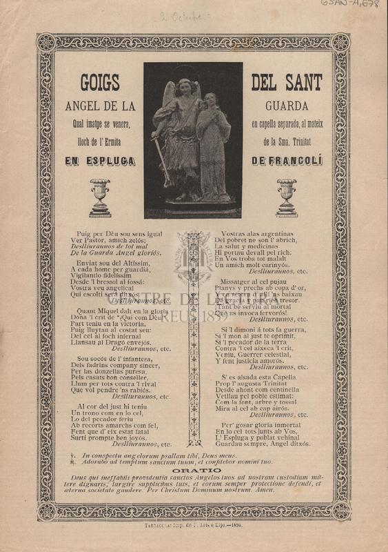 Goisg del Sant Angel de la Guarda qual imatge se venera, en capella separada, al mateix lloch de l'Ermita de la Sma. Trinitat en Espluga de Francolí