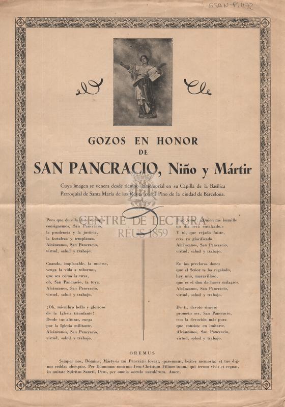 Gozos en honor de San Pancracio, Niño y Mártir