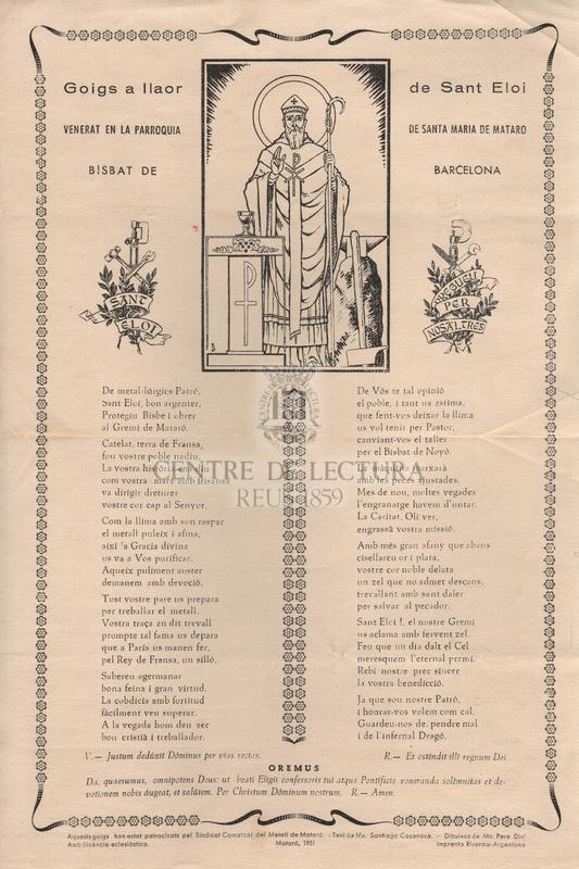 Goigs a llaor de Sant Eloi venerat en la Parròquia de Santa Maria de Mataró, Bisbat de Barcelona