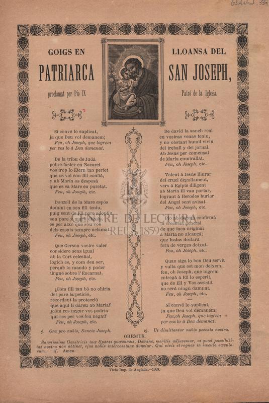 Goigs en lloansa del Patriarca San Joseph, proclamat per Pio IX Patró de la Iglesia