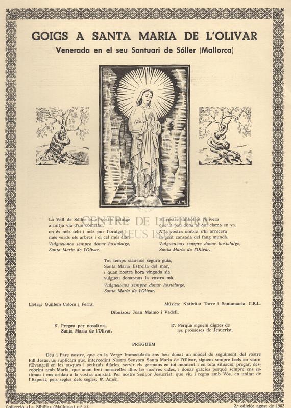 Goigs a Santa Maria de d'Olivar venerada en el seu Santuari de Sóller (Mallorca)