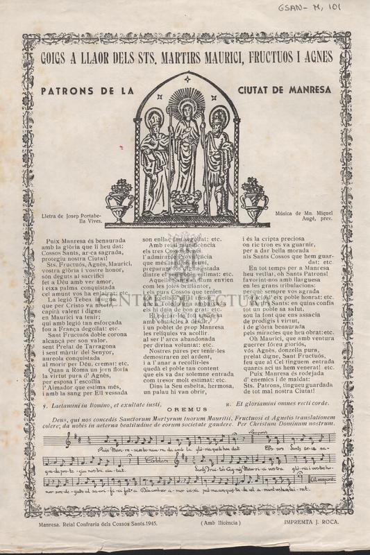 Goigs a llaor dels Sts. martirs Maurici, Fructuos i Agnes patrons de la ciutat de Manresa