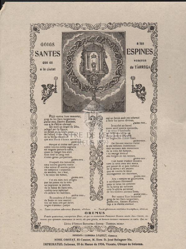 Goigs a les Santes Espines que es veneren a la ciutat de Tàrrega