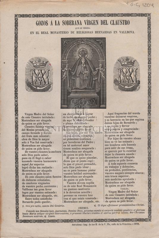 Gozos á la soberana vírgen del claustro que se venera en el real Monasterio de religiosas Bernardas en Vallbona