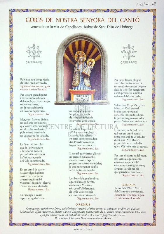 Goigs de Nostra Senyora del Cantó venerada en la vila de Capellades, bisbat de Sant Feliu de Llobregat