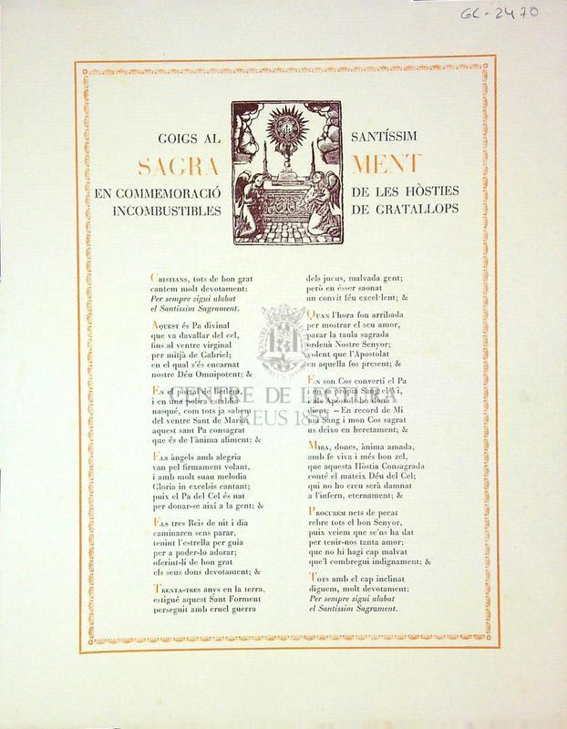 Goigs al santíssim sagrament en commemoració de les hòsties incombustibles de Gratallops