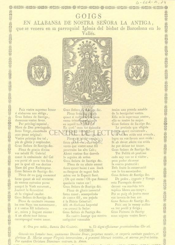 Goigs en alabansa de nostra señora La Antiga, que se venera en sa parroquial Iglesia del bisbat de Barcelona en lo Vallés