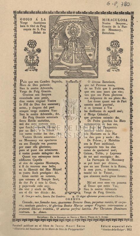 Goigs á la Miraculosa Verge Santísima Nostra Senyora, baix lo titol de Puig Graciós de la Parroquia de S. Pau de Monmany, Bisbát de Barcelona.