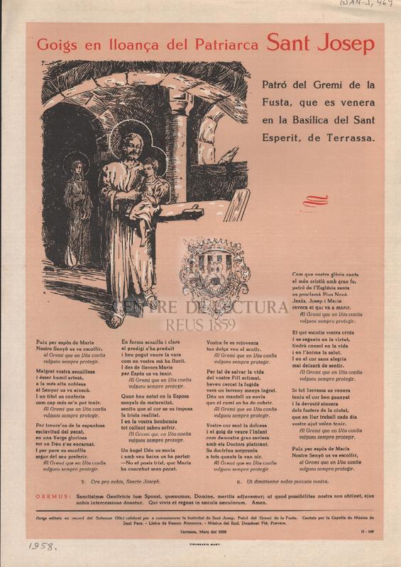 Goigs en lloança del Patriarca Sant Josep. Patró del Gremi de la Fusta, que es venera en la Basílica del Sant Esperit, de Terrassa