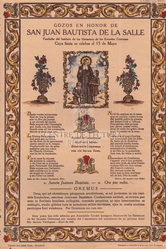 Gozos en honor de san Juan Bautista de la Salle, Fundador del Instituto de los Hermanos de las Escuelas Cristianas, Cuya fiesta se celebra el 15 de Mayo
