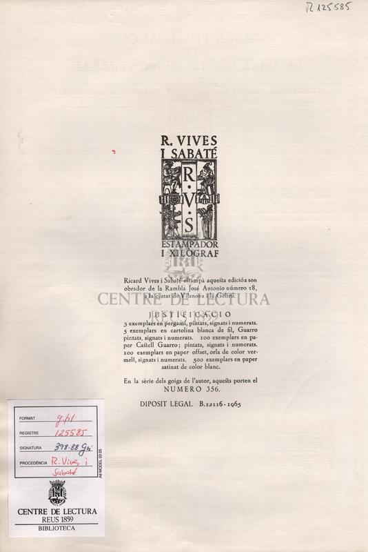 Goigs en lloança de la Mare de Deu de Montserrat venerada al Salo de la Mare de Deu de Montserrat de l'Excma. Diputacio Provincial de Barcelona.