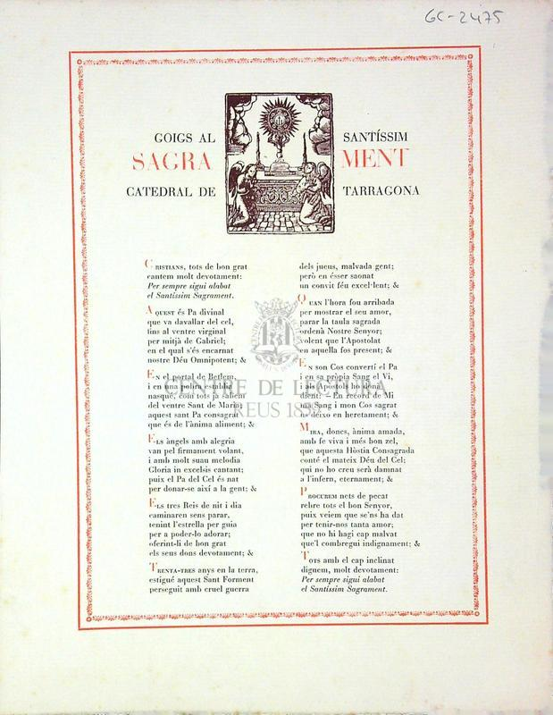 Goigs al Santíssim Sagrament catedral de Tarragona