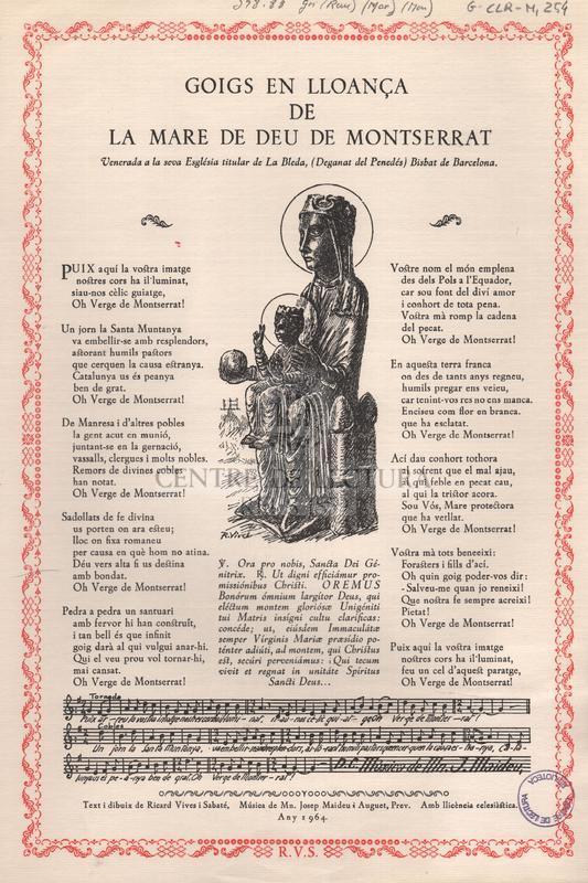 Goigs en lloança de la Mare de Deu de Montserrat venerada a la seva Església titular de La Bleda, (Deganat del Penedés) Bisbat de Barcelona.