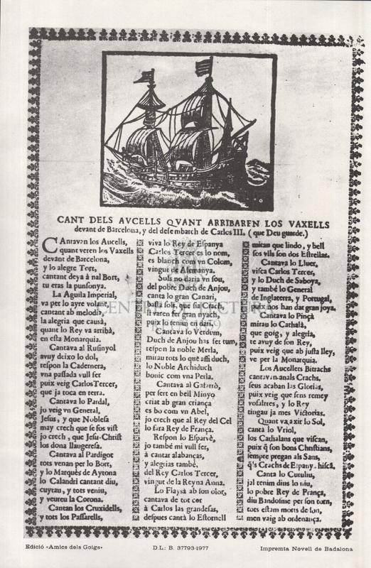 Cant dels aucells quan arribaren los vaxells devant de Barcelona, y del desembarch de Carlos III, (que Deu guarde)