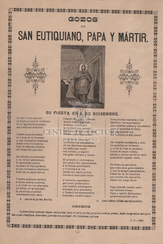 Gozos de San Eutiquiano, papa y mártir. Su fiesta en 8 de diciembre