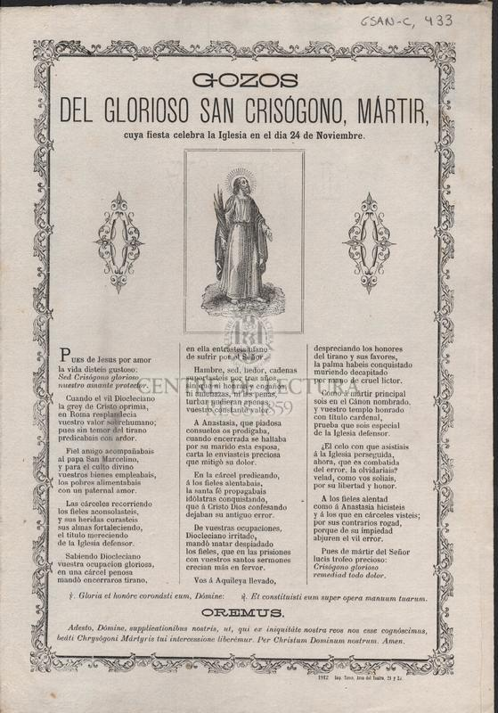 Gozos del glorioso San Crisógono, Mártir, cuya fiesta celebra la Iglesia en el dia 24 de Noviembre