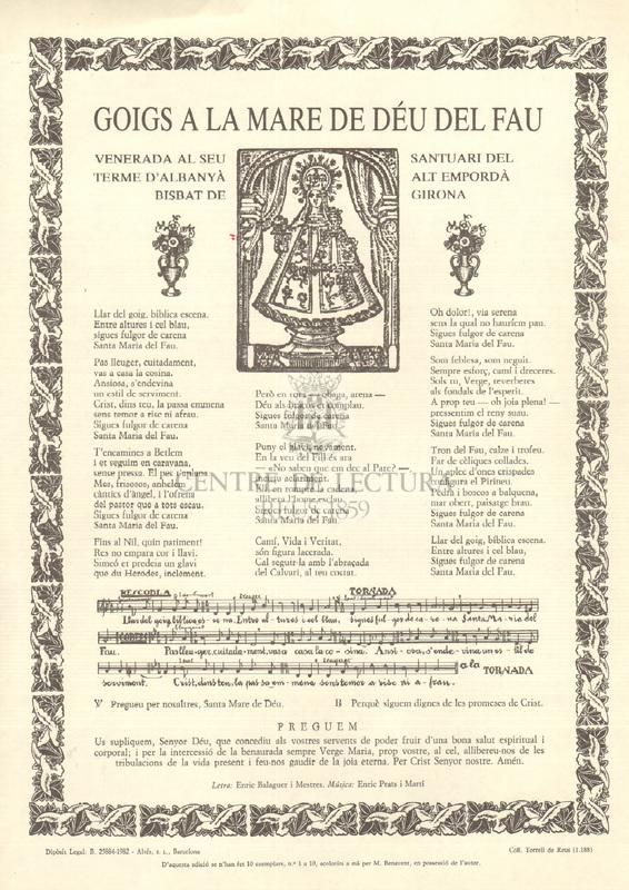 Goigs a la Mare de Déu del Fau venerada al seu santuari del terme d'Albanyà Alt Empordà bisbat de Girona