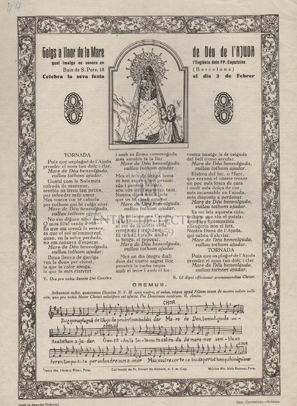 Goigs a llaor de la Mare de Déu de l'Ajuda qual imatge es venera en l'Església dels PP. Caputxins (Barcelona).