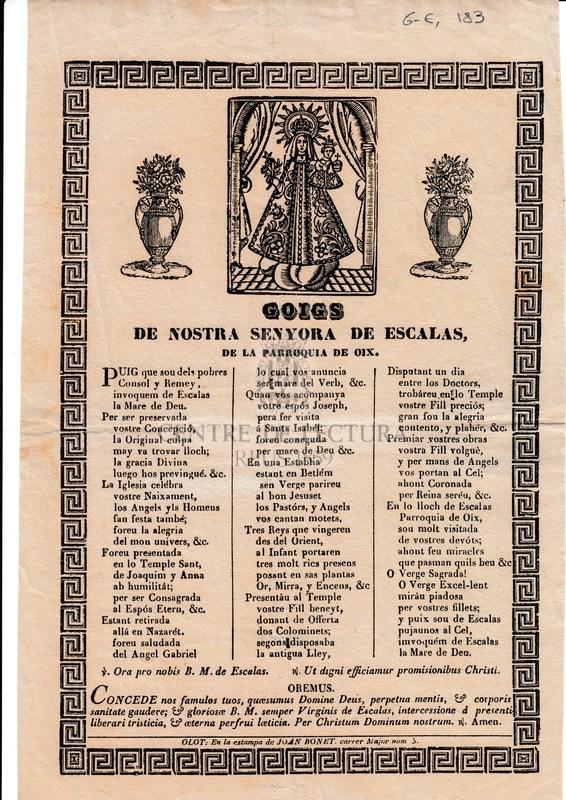 Goigs de nostra senyora de Escalas de la parroquia de Oix