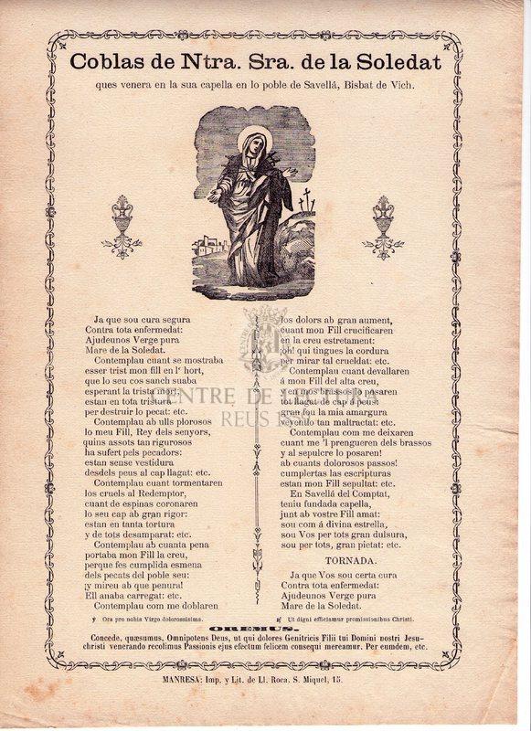 Coblas de Ntra. Sra. de la Soledat ques venera en la sua capella en lo poble de Savellá, Bisbat de Vich