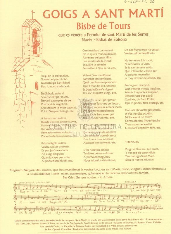 Goigs a Sant Martí, bisbe de Tours, que es venera a l'ermita de Sant Martí de les Serres, Navès, Bisbat de Solsona