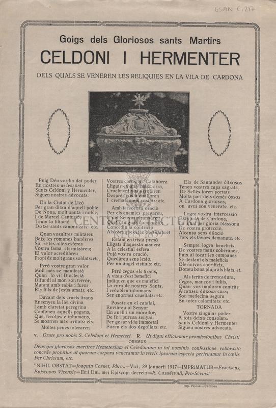 Goigs dels gloriosos sants Martirs Celdoni i Hermenter dels quals se veneren les relíquies en la vila de Cardona