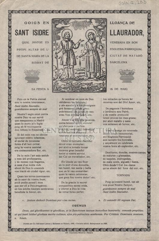 Goigs en lloança de sant Isidre Llaurador, qual imatge es venerada en son propi altar de l'esglesia parroquial de santa María de la ciutat de Mataró Bisbat de Barcelona