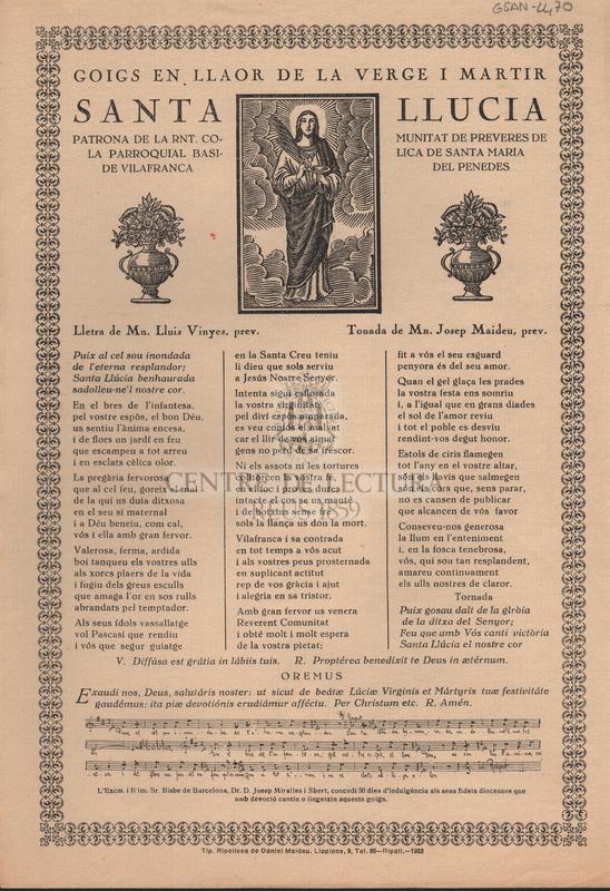 Goigs en llaor de la Verge i Martir Santa Llucia Patrona de la Rnt. Comunitat de Preveres de la Parroquial Basilica de Santa Maria de Vilafranca del Penedes.