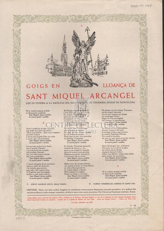 Goigs en lloança de Sant Miquel Arcangel que es venera a la basílica del Sant Esperit, de Terrassa, Bisbat de Barcelona