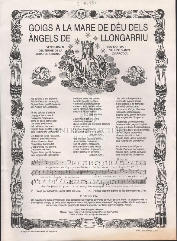 Goigs a la Mare de Déu dels Àngels de Llongarriu venerada al seu santuari del terme de la Vall de Bianya bisbat de Girona (Garrotxa)